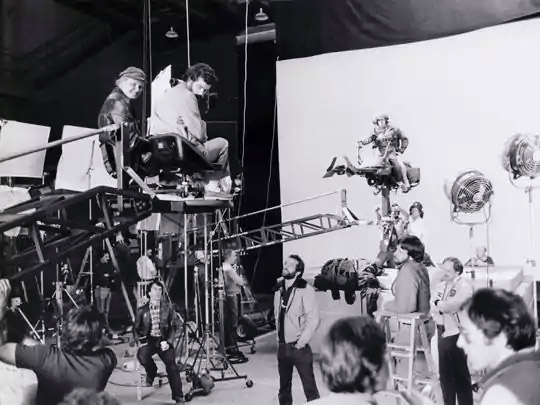 Director George Lucas shooting the speeder bike chase scene on Return of the Jedi (image: LucasFilm).