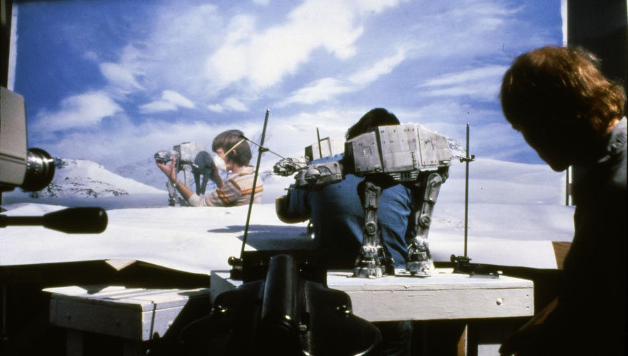 Shooting the Battle on Hoth (image: LucasFilm).