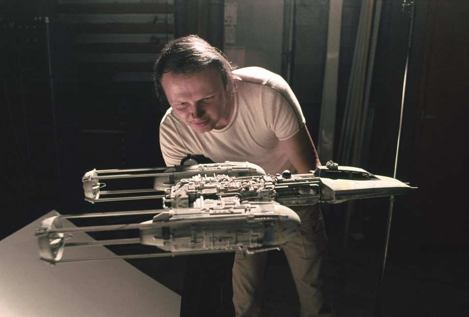 Dennis Muren working on a Y-wing fighter (image: LucasFilm).